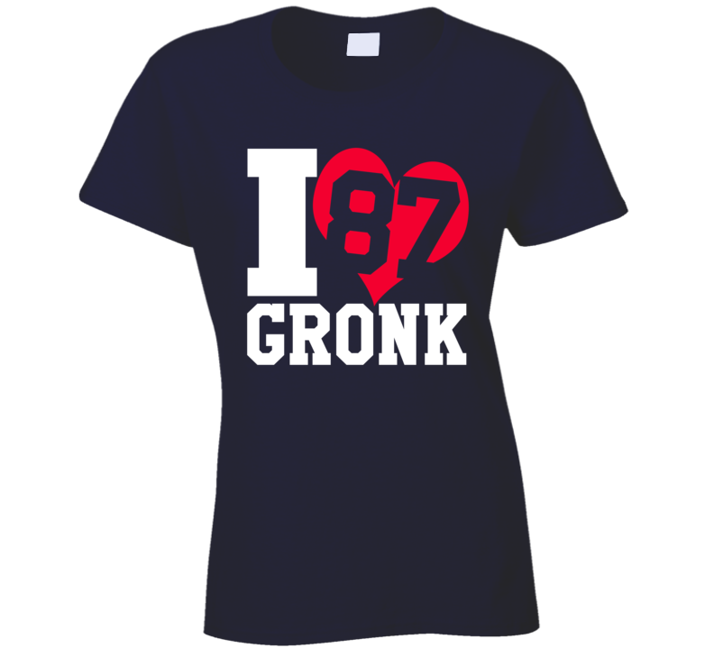 I Heart Love Gronk Fun Rob Gronkowski New England Football Graphic Fan T Shirt