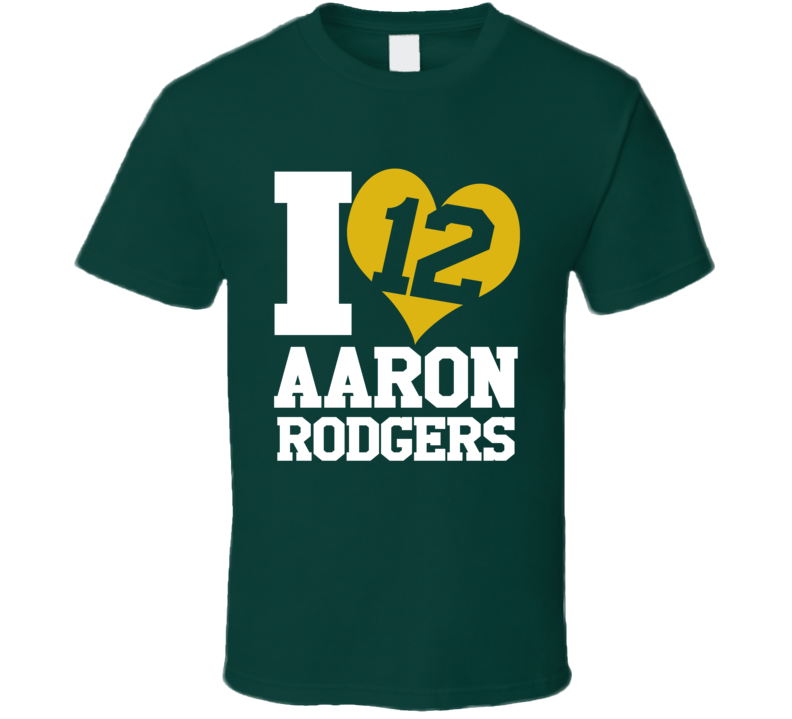 I Heart Love Arron Rodgers 12 Fun Green Bay Football Graphic Fan T Shirt