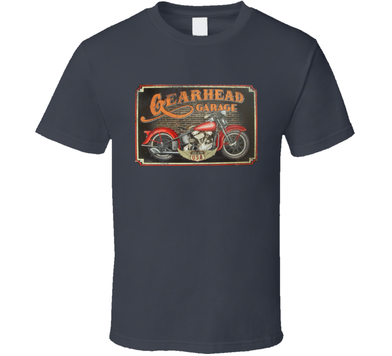 Gearhead Garage Vintage USA Motorcycle Distressed Graphic T Shirt