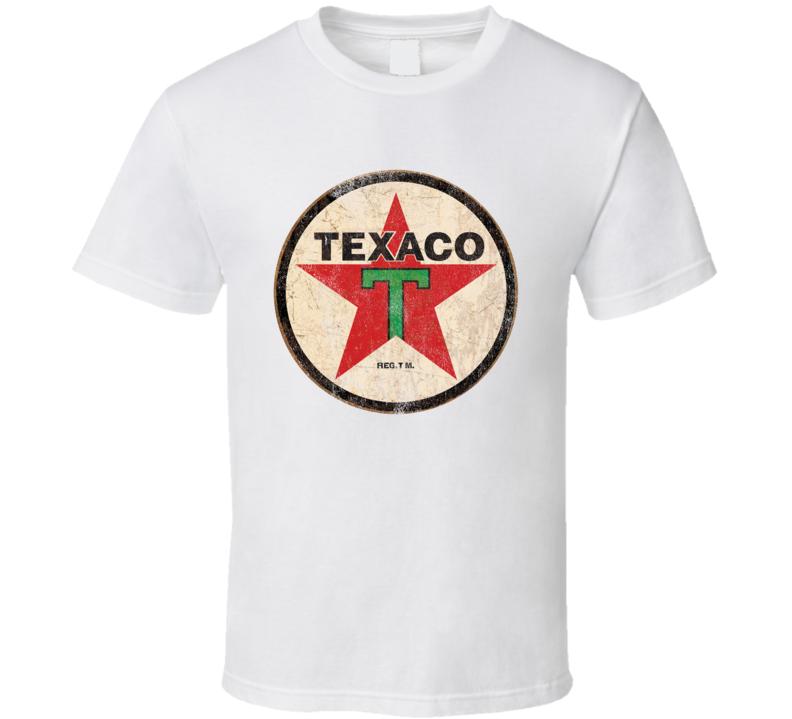 Vintage Texaco Gas Petrol Distressed Graphic Car Lover T Shirt