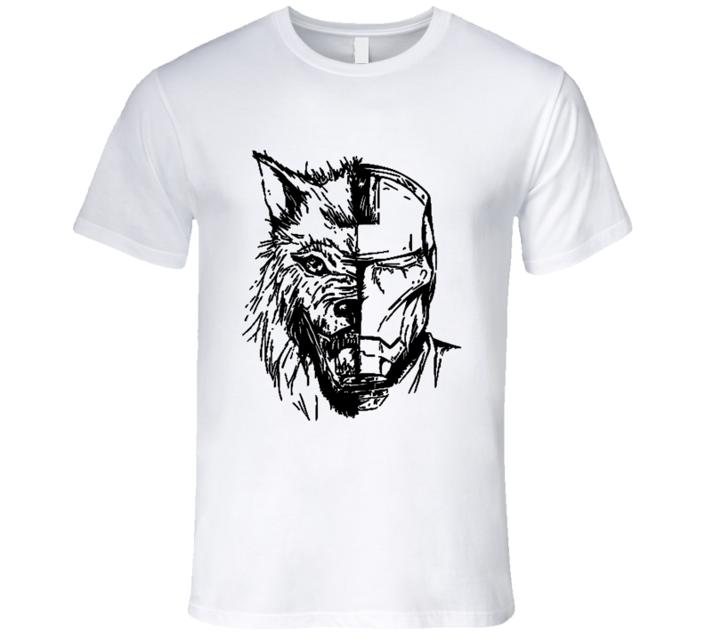 Game Of Thrones House Of Stark Wolf Tony Stark Ironman Half And Half Faces Graphic GoT  T Shirt