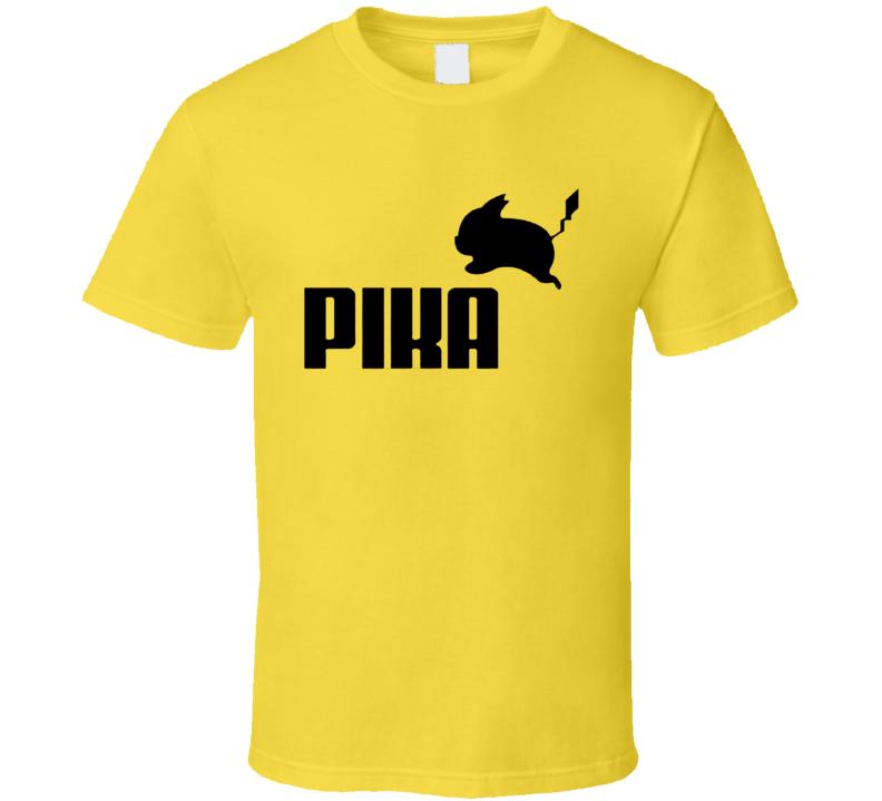 Pika Pikachu Pokemon Go Funny Puma Parody Graphic Anime T Shirt