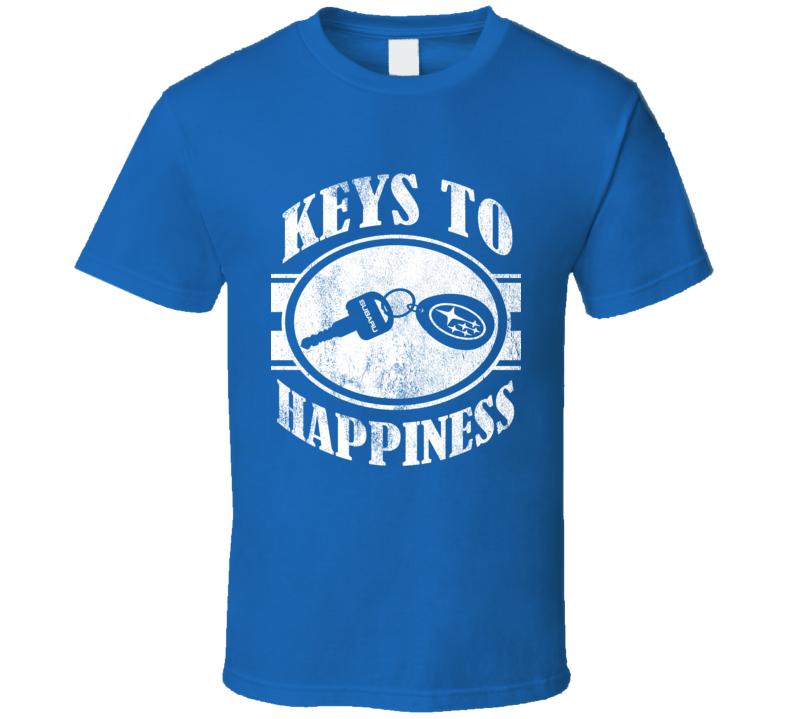 Keys To Happiness Fun Subaru Love Impreza WRX Legacy Outback Graphic Car T Shirt