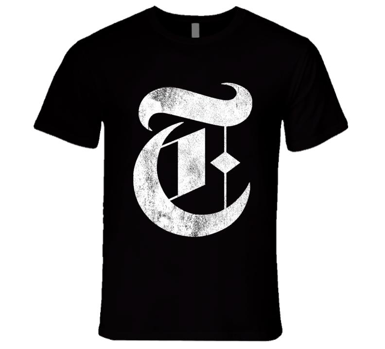 Times Vintage New York Popular Graphic News Publication Logo T Shirt