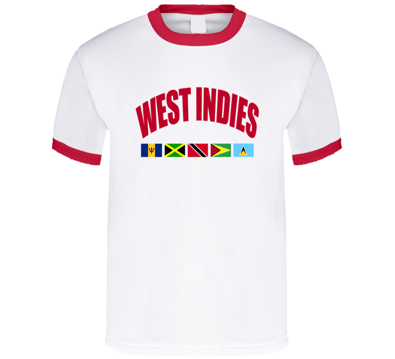 West Indies Barbados Jamaica Trinidad Tobago Guyana St Lucia Flag Graphic Olympics Tee Shirt