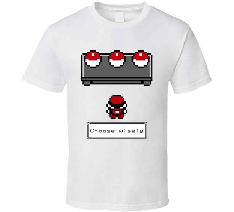 Choose Wisely Fun Starter Pokemon Go Pixel Original Vintage Style Game Apparel T Shirt