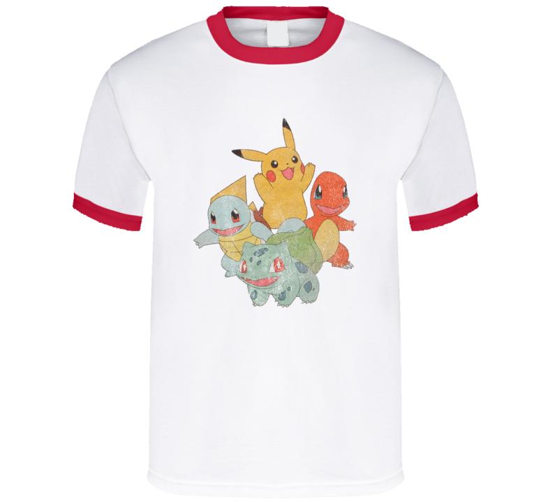 Classic Starter Pokemon Pikachu Charmander Squirtle Bulbasaur Fun Vintage Style Apparel T Shirt
