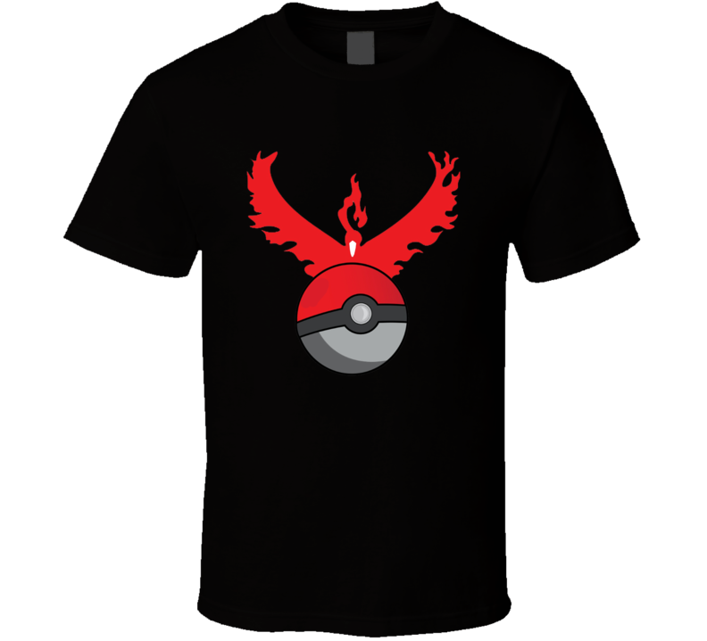 Team Valor Symbol Logo Pokeball Pokemon Go Fun Game Apparel T Shirt