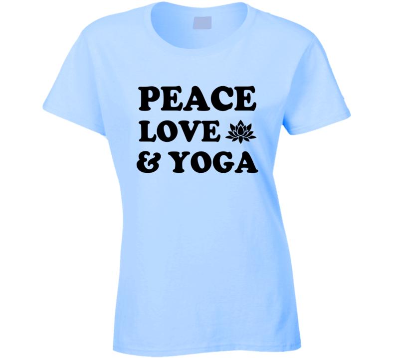 Peace Love And Yoga Fun Spiritual Yogi Graphic Lotus Tee Shirt