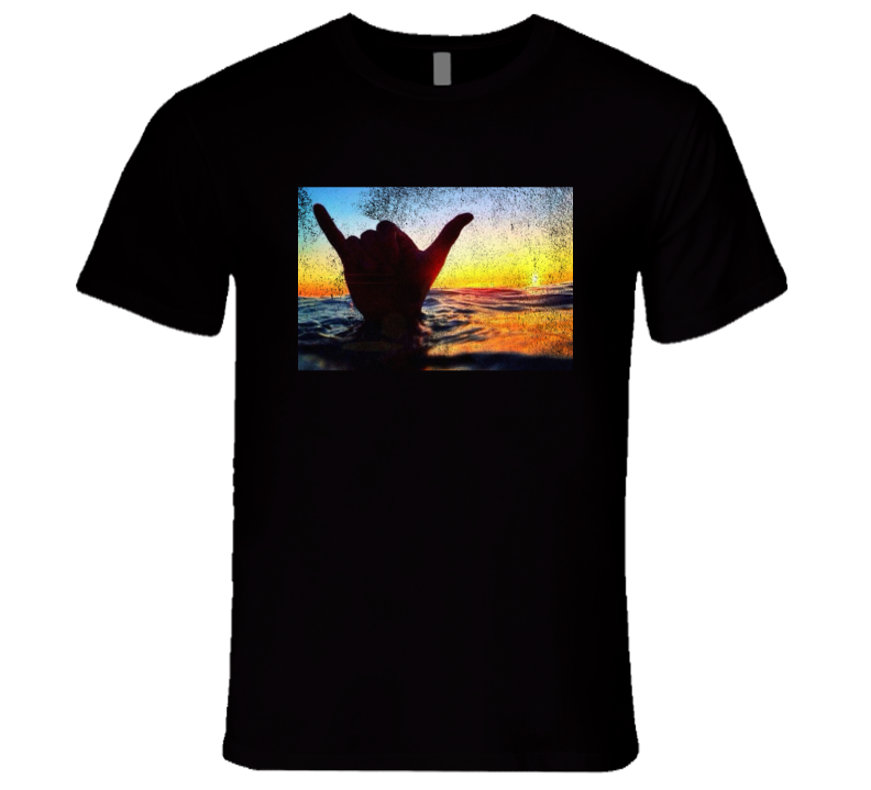 Shaka Brah Hang Loose Hand Ocean Surfer Sunset Graphic Vintage Style Distressed Graphic T Shirt