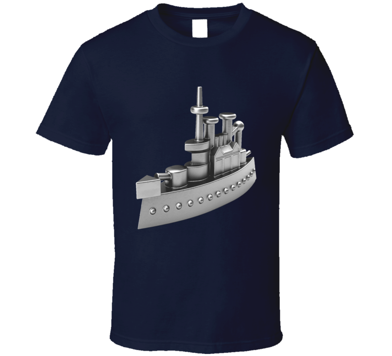Classic Battleship Monopoly Token Game Piece Fun Cool Graphic Tee Shirt