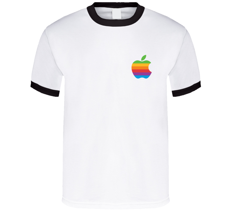 Rainbow Apple Vintage Retro Graphic Logo Tee Shirt