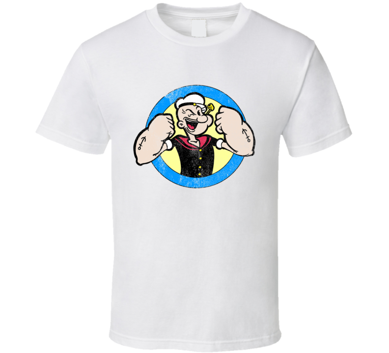 Popeye Fun Cool Vintage Style Sailor Distressed Graphic Retro Tv Show T Shirt