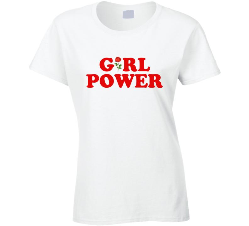 Girl Power Rose Fun Popular Retro Graphic Blogger T Shirt