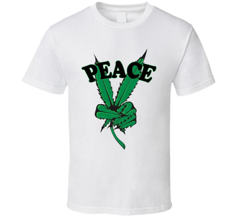 Peace Cannabis Leaf Fun Graphic Tee Shirt