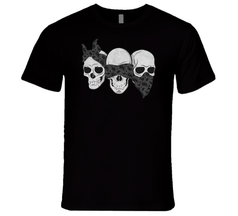 Three Skulls Hear No Evil Fun Graphic Tee Shirt