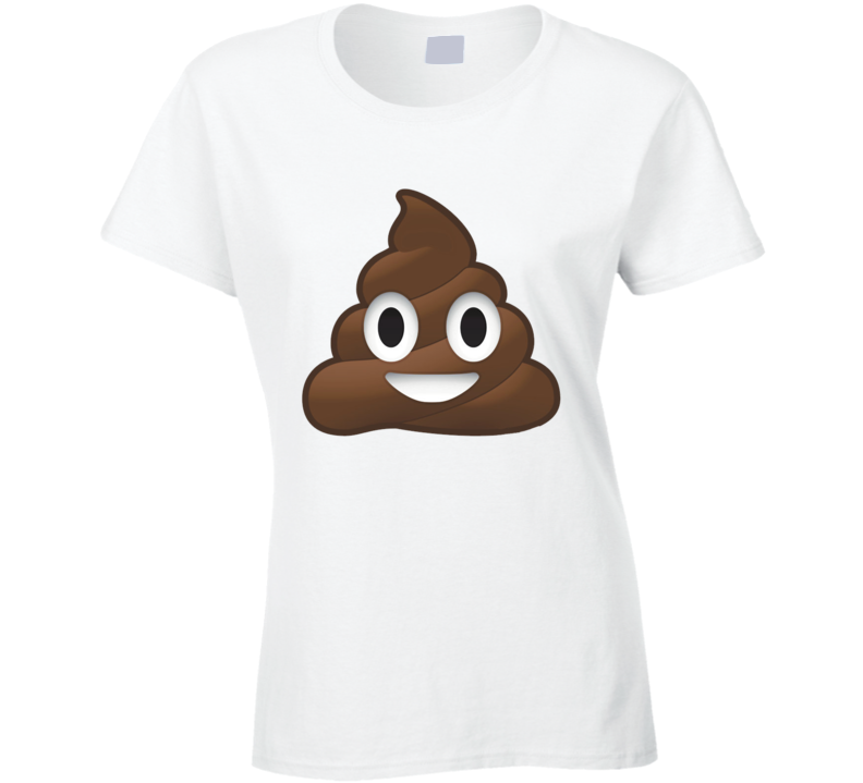 Smiley Poop Cute Fun Emoticon Text Graphic Tee Shirt