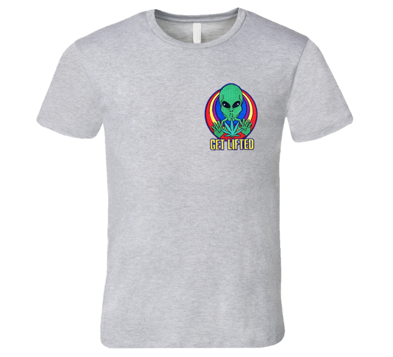 Get Lifted Fun Alien Pot Weed Graphic Tee Shirt