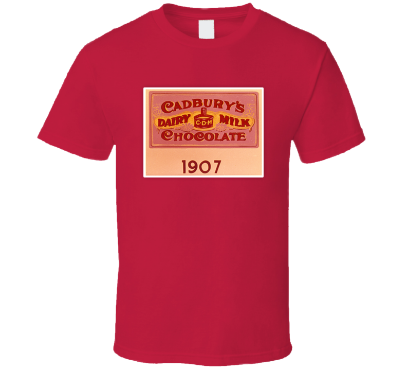 Cadbury's Dairy Milk Chocolate 1907 Old Style Candy Bar Fan T Shirt
