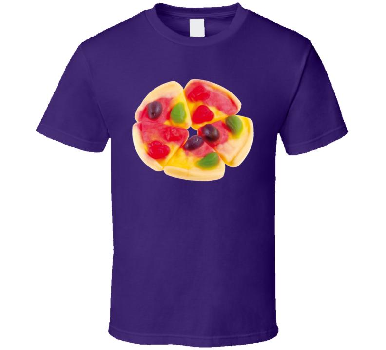 E Frutti Gummi Pizza Novelty Retro Candy Fan T Shirt
