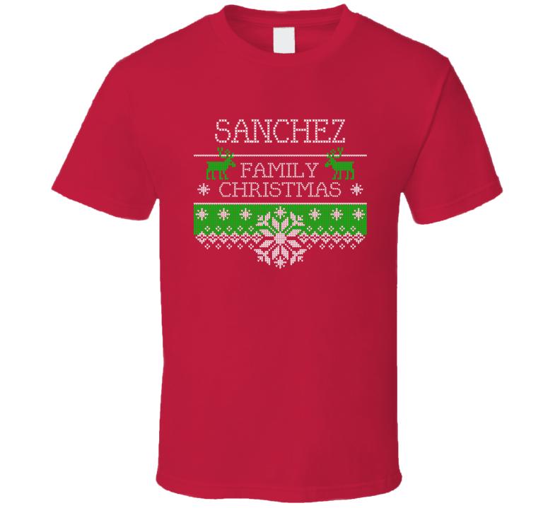 Sanchez Family Christmas Last Name Holidays Gift T Shirt