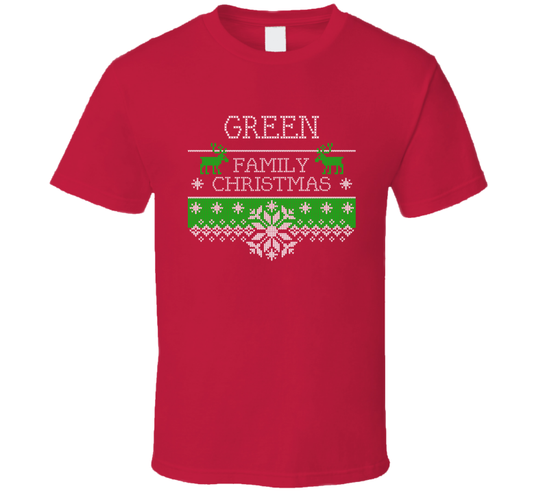 Green Family Christmas Last Name Holidays Gift T Shirt