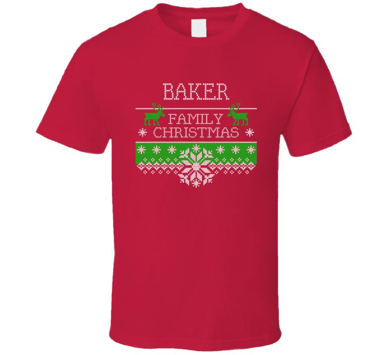 Baker Family Christmas Last Name Holidays Gift T Shirt