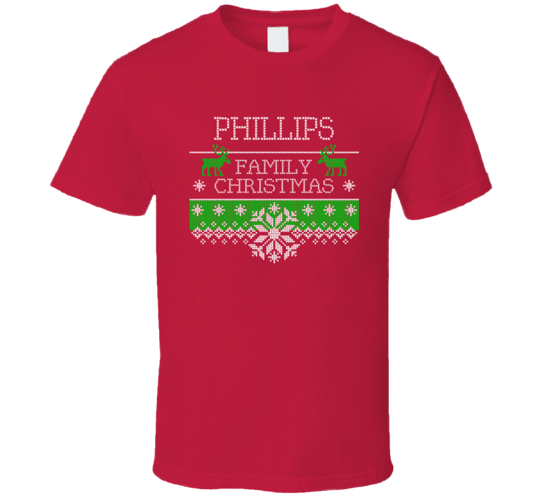 Phillips Family Christmas Last Name Holidays Gift T Shirt