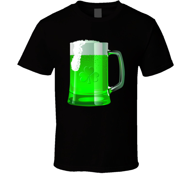 Green Beer Shamrock Mug St. Patrick's Day Holiday Fan T Shirt