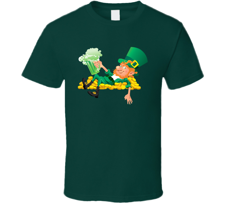 Leprechaun Green Beer Gold Coins St. Patrick's Day Holiday Fan T Shirt
