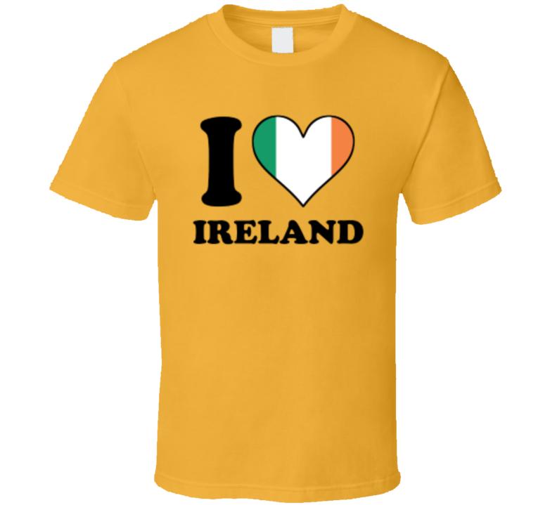 I Love Heart Heart Flag St. Patrick's Day Holiday Fan T Shirt