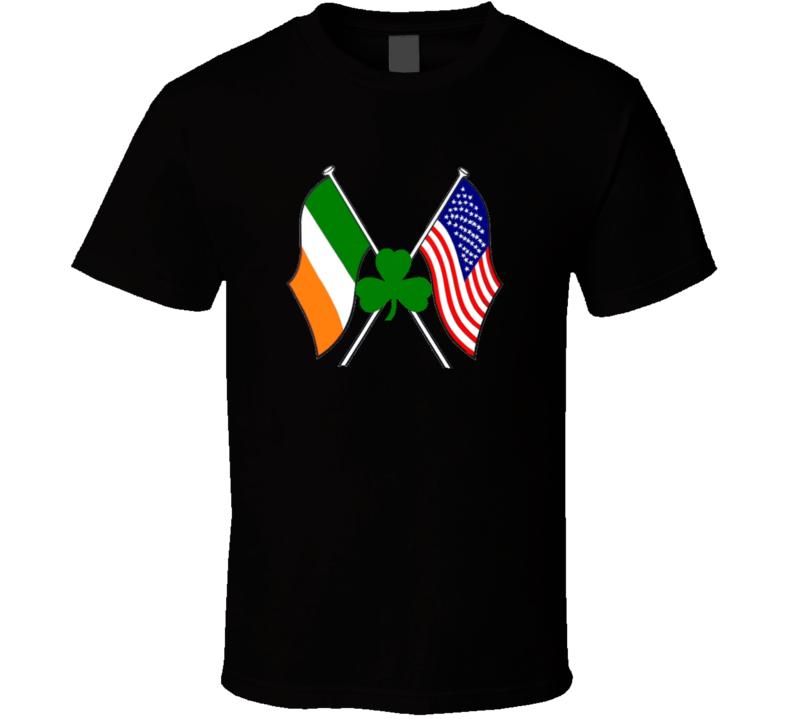 Irish American Flags Shamrock St. Patrick's Day Holiday Fan T Shirt
