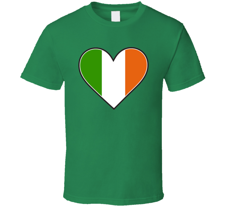Irish Flag Colour Heart St. Patrick's Day Holiday Fan T Shirt