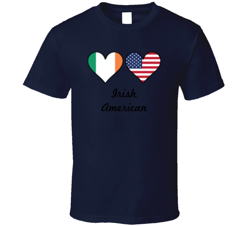 Irish American Flag Colour Hearts St. Patrick's Day Holiday Fan T Shirt