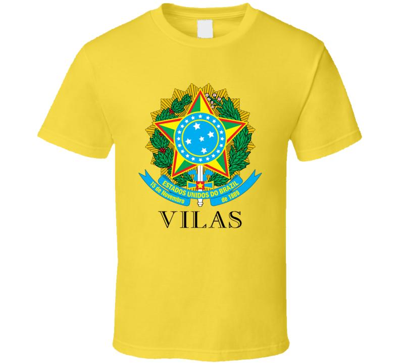 Vilas Brazil Coat Of Arms Family Surname T Shirt