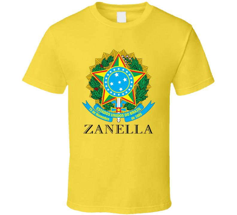 Zanella Brazil Coat Of Arms Family Surname T Shirt