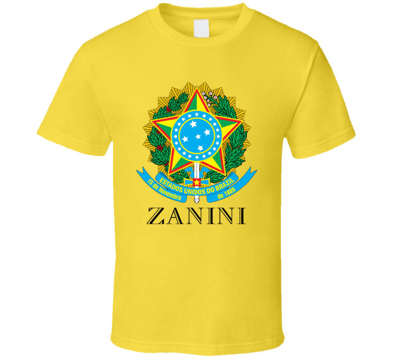 Zanini Brazil Coat Of Arms Family Surname T Shirt