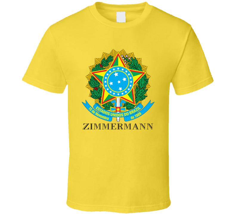 Zimmermann Brazil Coat Of Arms Family Surname T Shirt
