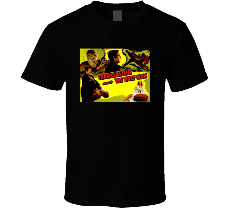 Frankenstein Meets The Wolfman Greatest Halloween Movie Fan T Shirt