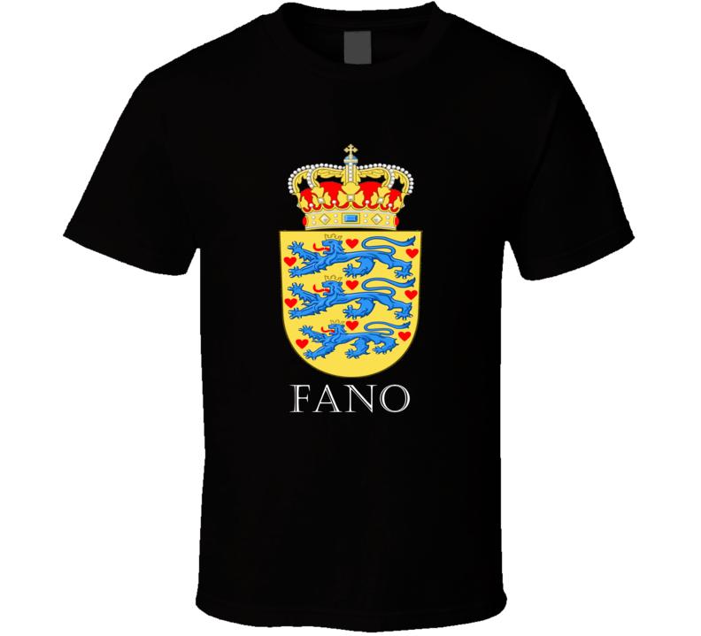 Fano Denmark Coat Of Arms Custom Last Name Patriotic Danish T Shirt