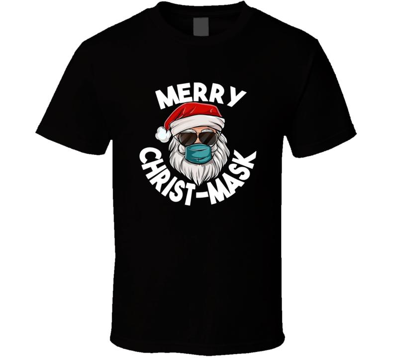 Merry Christ-mask Funny Santa Wearing Mask T Shirt
