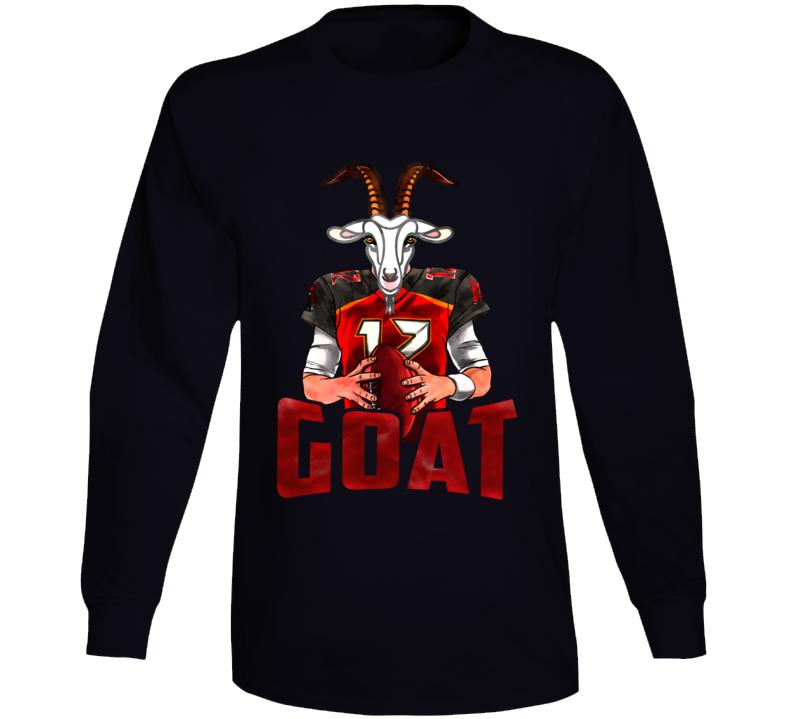 Tom Brady Goat Cartoon Tampa Bay Football Long Sleeve T Shirt