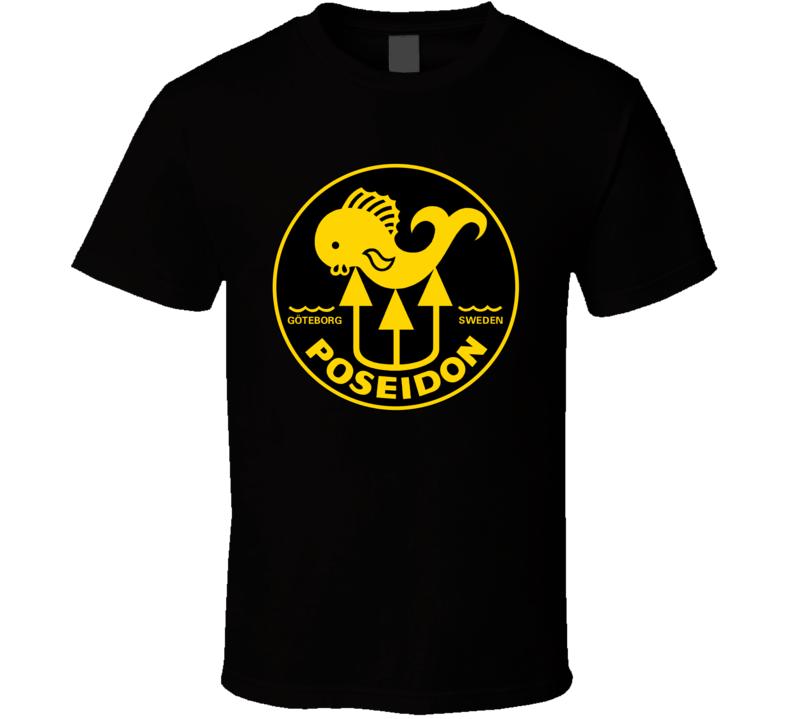 Poseidon Logo Scuba Diving Black T-Shirt