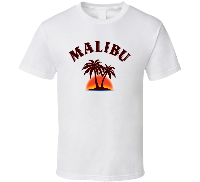 Malibu Rum Coconut Rum Aged Look Label T Shirt