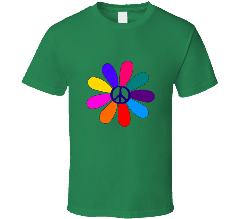 Peace Flower on Green T Shirt