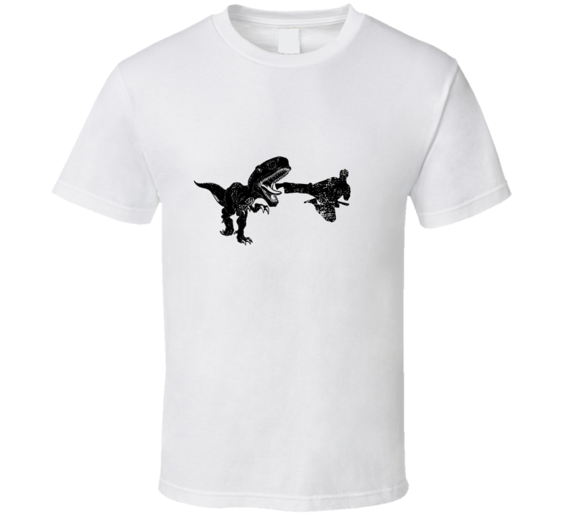 Flying Karate Kick T Rex Distressed White T Shirt