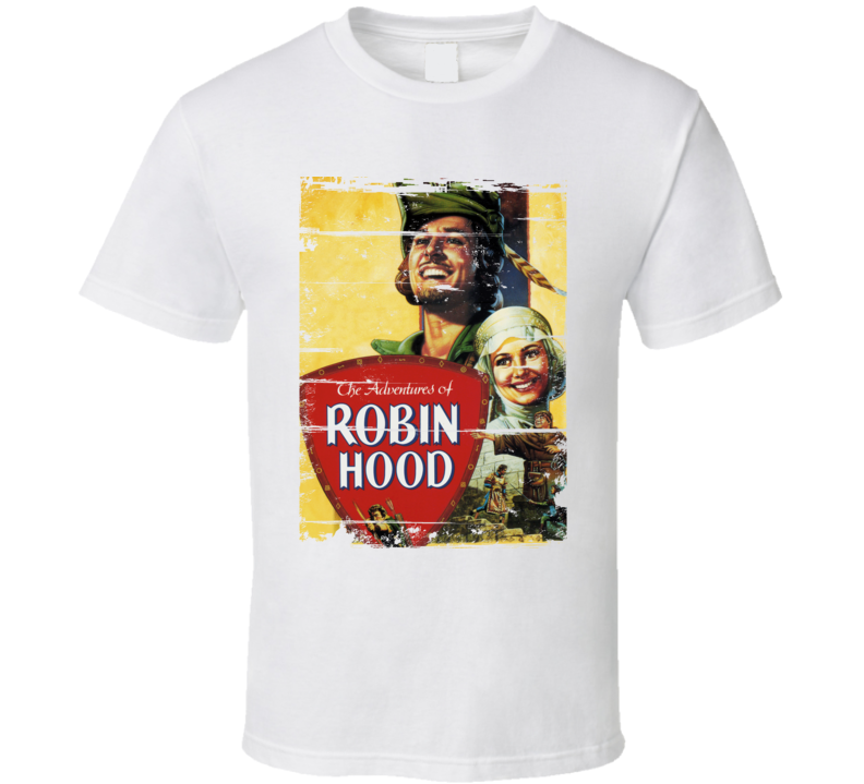The Adventures of Robin Hood  Classic Movie Poster Aged Look T Shirt