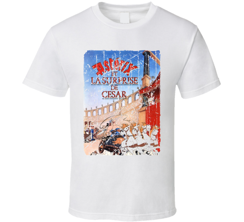 Asterix Versus Caesar Movie Poster Retro Aged Look T Shirt