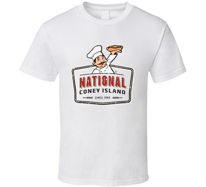 National Coney Island Fast Food Restaurant Distressed Look T Shirt