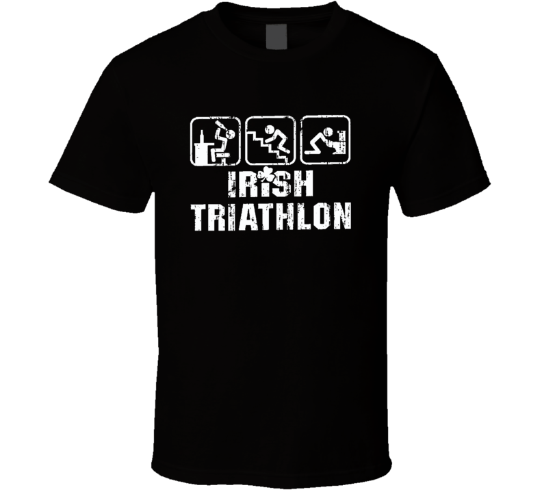 Irish Triathlon St Patricks Day Worn Look Funny Beer Lover T Shirt